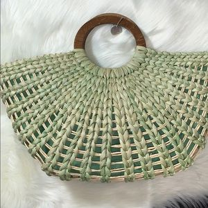 The Sak green straw tote